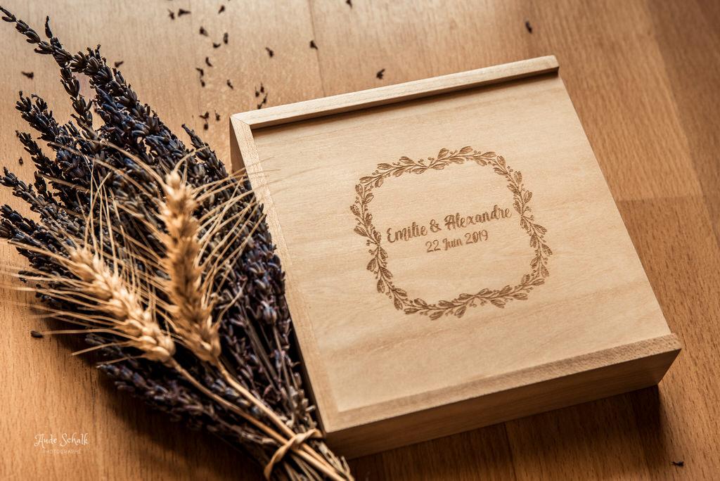 coffret photo mariage en bois